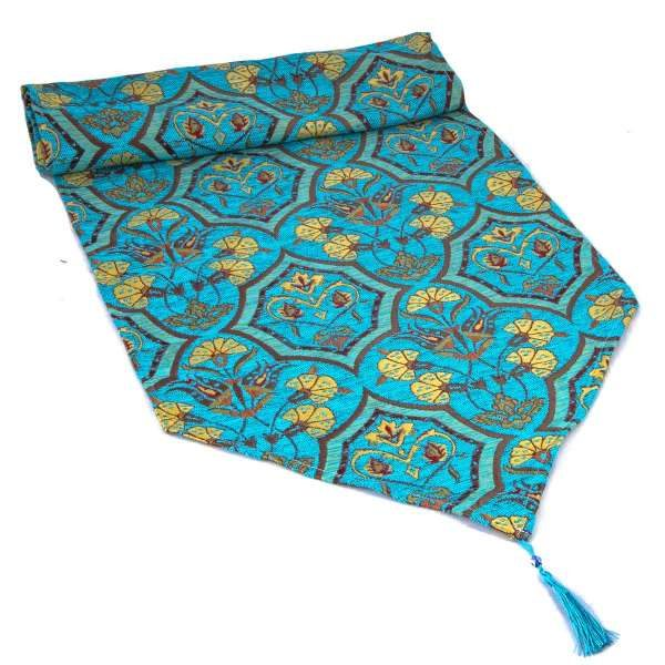 Turquoise Color Floral Turkish Table Runner