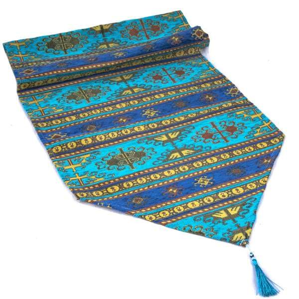 Turquoise Color Turkish Kilim Design Table Runner