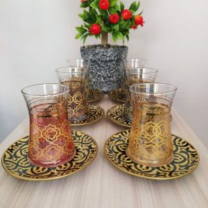 Hafsa Colorfull Turkish Tea Set With Black Saucers