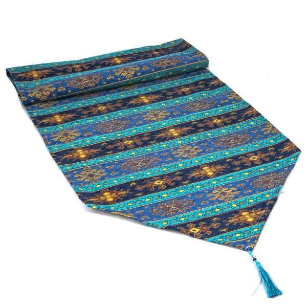 Turquoise - Blue Color Turkish Table Runner