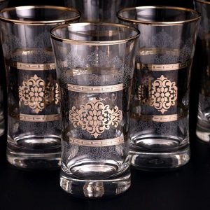 Silver Color Middle Eastern Style Beverage- Water Glasses Set