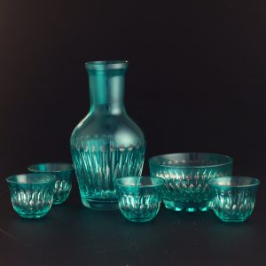 Turquoise Color Water - Zamzam Glasses Set With Date Bowl