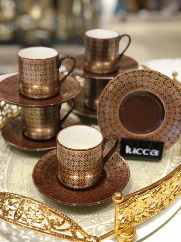Lucca Porcelain Amber Coffee Set For Six Person