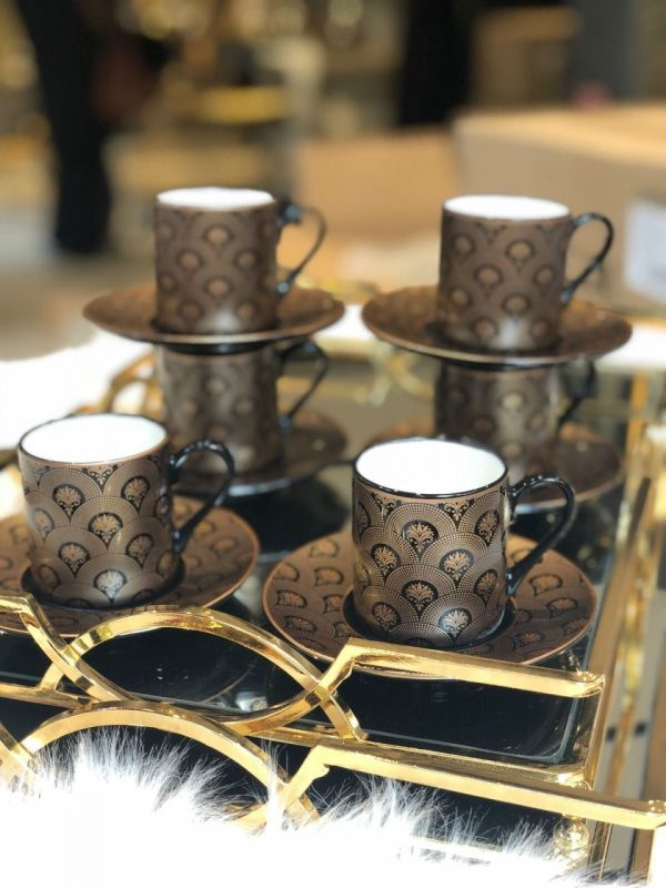 Lucca Porcelain Petunya Coffee Set For Six Person
