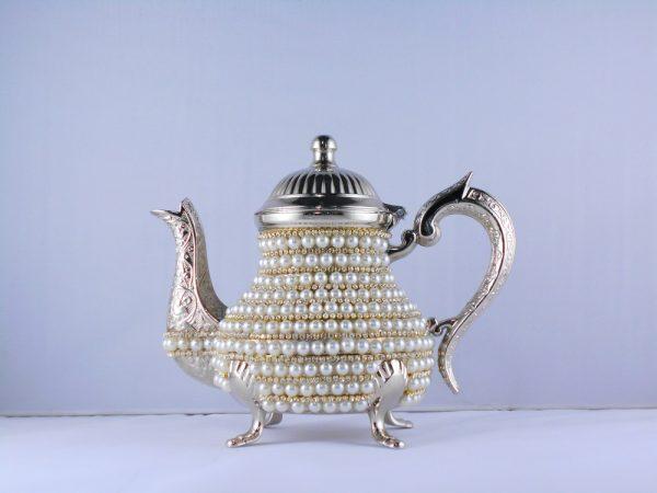 Handmade Pearl Coated Zinc Casting Tea -Coffee Pot Silver Color