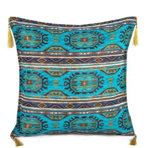 2x Turquoisse Color Kilim Pattern Turkish Pillow Case Set 2265
