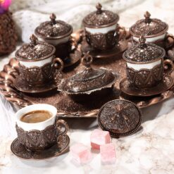 Rose Design Arabic Coffee Set For Six Person Copper Color