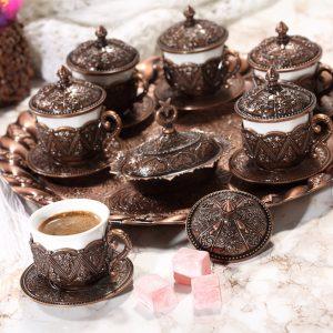 Rose Design Arabic Coffee Set For Six Person Copper Color