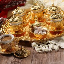 Rose Design Arabic Coffee Set For Six Person Gold Color