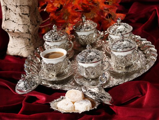Rose Design Arabic Coffee Set For Six Person Silver Color