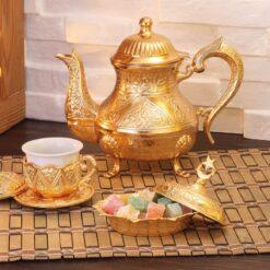 VintageStyle Zinc Casting Tea Pot Gold Color