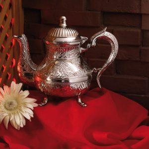 Vintage Style Zinc Casting Tea Pot Silver Color