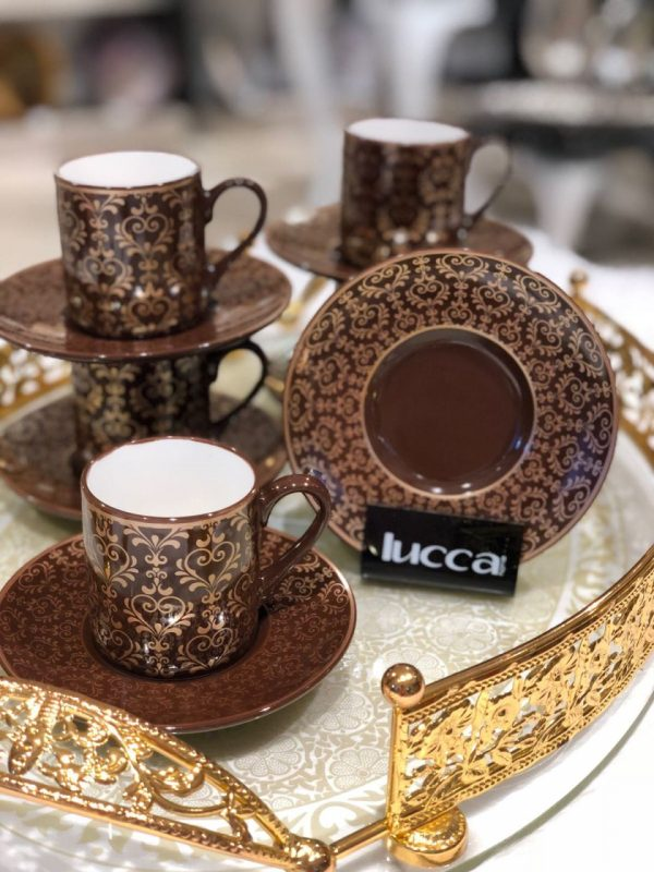 Lucca Porcelain Emma Brown Coffee Set For Six Person