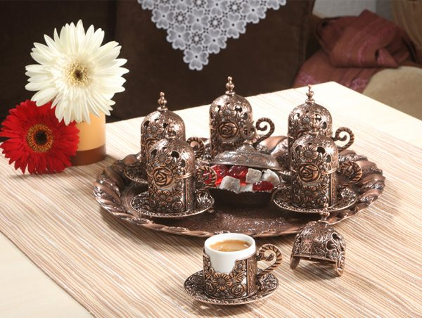 Rose Design Turkish Coffee Set For Six Person Gold Color