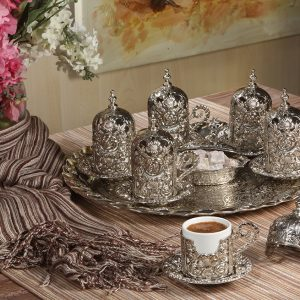 Rose Design Turkish Coffee Set For Six Person Silver Color