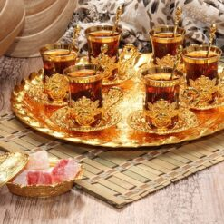 New Turkish Tea Serving Set For Six People With Tray And Spoons