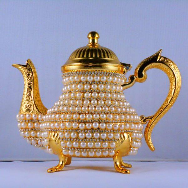 Handmade Pearl Coated Zinc Casting Tea -Coffee Pot Gold Color