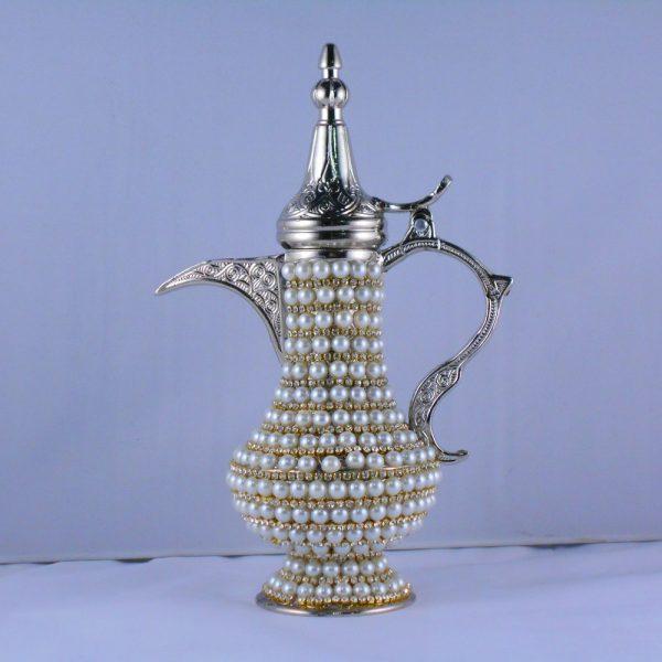 Small Pearl Coated Silver Color Zinc Casting Dallah