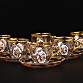 Classic Floral Design Turkish Coffee Cups Set For Six Person