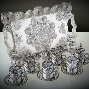 Tulip Design Silver Color 2019 Collection Coffee Set