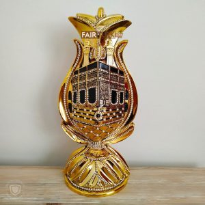 Tulip Design Kaaba Graved Islamic Table Gift In Gold Color
