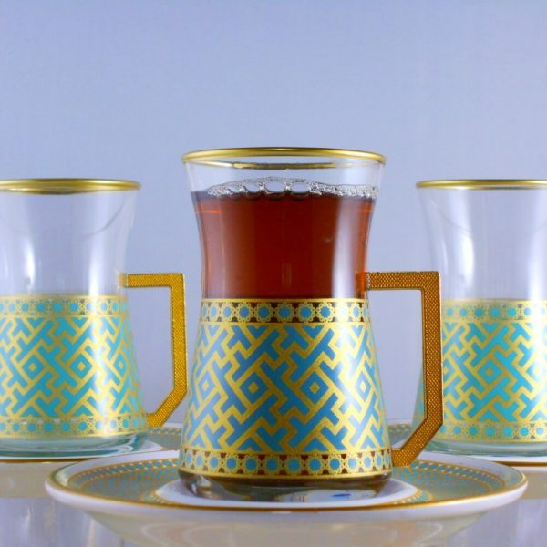 12 Pcs Seljukian Turkish Tea Set With Holder