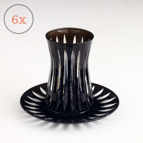 Black Color Turkish Tea Set Cutting Design