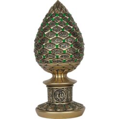 Gold Color Pine Cone Design Islamic Gift With Green Stones