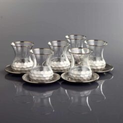Luxury Silver Plated Turkish Tea Set With Metal Saucers