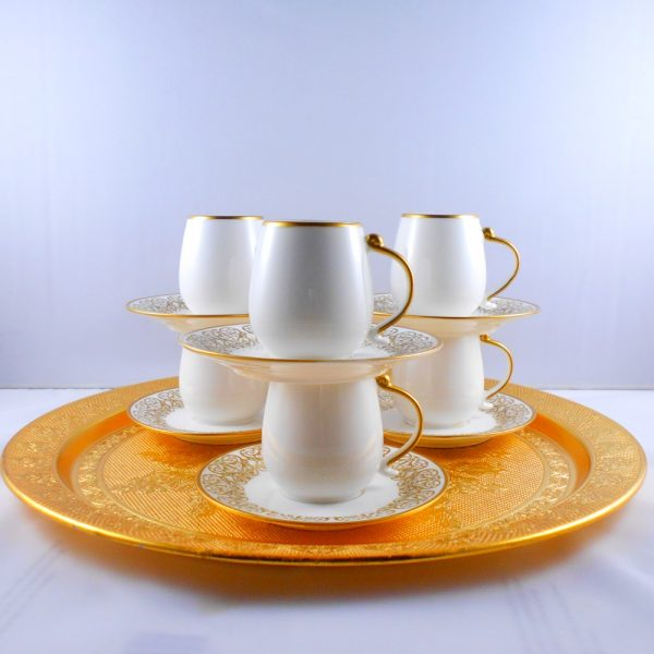 New Collection Porcelain Turkish Coffee - Espresso Set - Gold Painted Saucer
