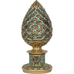 Gold Color Pine Cone Design Islamic Gift With Turquoisse Stones