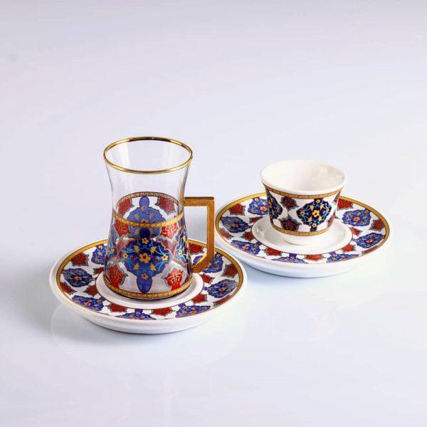 18 Pcs Blue Color Turkish Tea Set With Coffee Cups