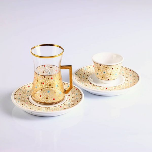 18 Pcs Colorfull Design Turkish Tea Set With Coffee Cups