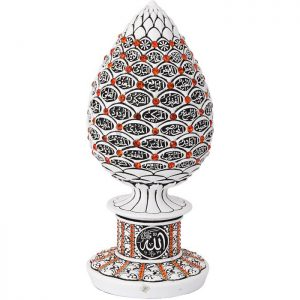 White Color Pine Cone Design Islamic Gift With Red Stones