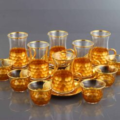 18 Pcs Luxury Gold Color Tea Set With Metal Plates And Coffee Cups