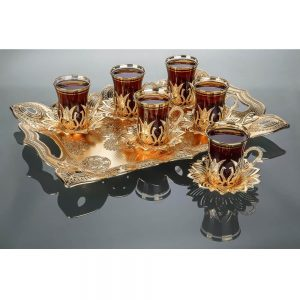 2019 Collection Tulip Design Turkish Tea Set With Tray