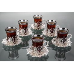 2019 Collection Silver Color Turkish Tea Cups And Saucers Set Tulip Design