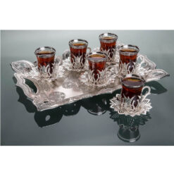 2019 Collection Tulip Design Silver Color Turkish Tea Set With Tray