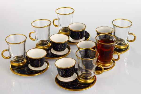 18 Pcs Marble Pattern Turkish Tea Set With Coffee Cups