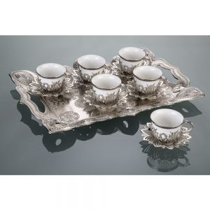 Colorful Tulip Design Silver Color Coffee Set
