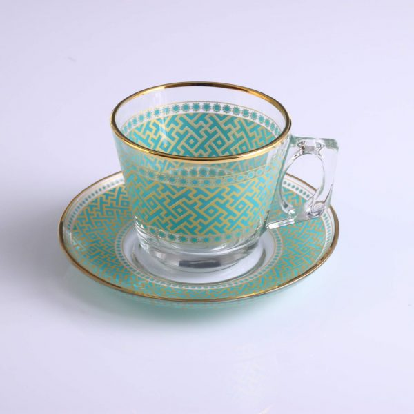 Turquoise Color Coffee Mugs-Tea Glasses For Six Person