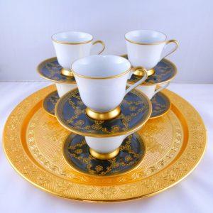 Black Saucers Model Bohemia Crystal Medium Size Coffee Set