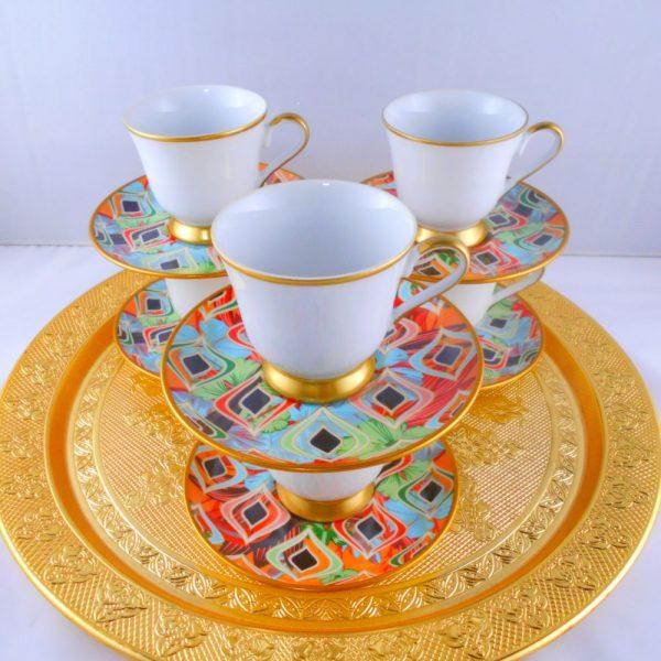 Bohemia Crystal Colorful Medium Size Turkish Coffee Set