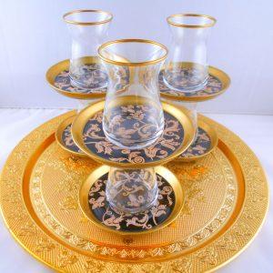 Bohemia Crystal 12 Pcs Oriental Thin Waist Tea Cups Set