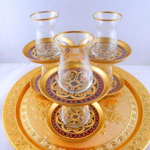Bohemia Crystal 12 Pcs Ottoman Thin Waist Tea Cups Set