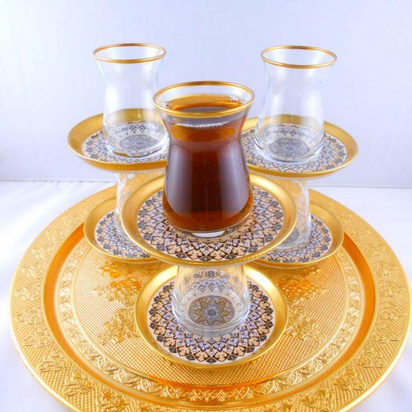 Bohemia Crystal 12 Pcs Akasya Thin Waist Tea Cups Set