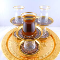 Bohemia Crystal 12 Pcs Black Color Thin Waist Tea Cups Set