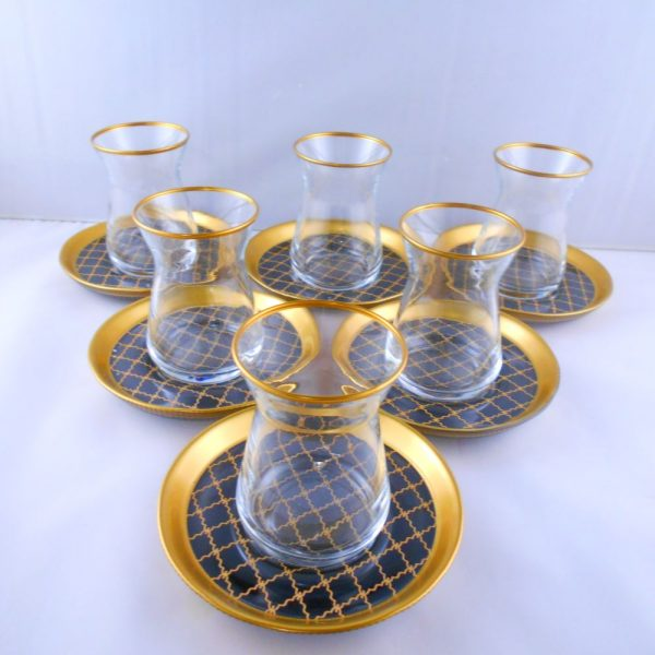 Bohemia Crystal 12 Pcs Black Color Check Tea Cups Set