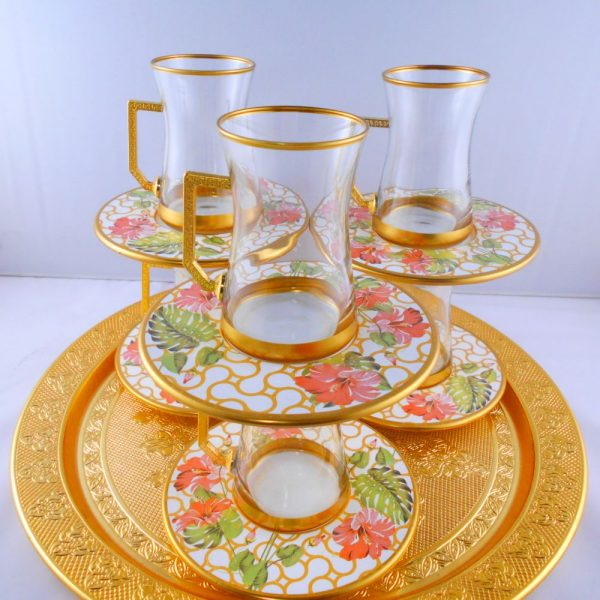 12 Pcs Thin Waist Floral Turkish Tea Set With Holder