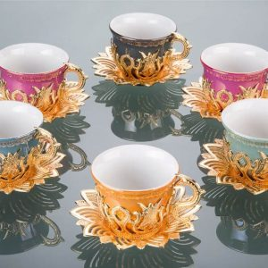 Colorful Tulip Design Gold Color Cups For Six